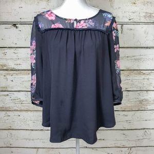Lauren Conrad Blue Grey & Sheer Floral Top Sz Lg